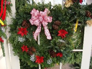 Fresh evergreen wreath by Hillermann Nursery & Florist