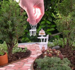 Mini garden with mini furniture